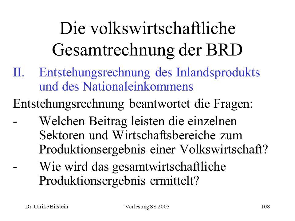 Dr. Ulrike BilsteinVorlesung SS 2003108 Die volkswirtschaftliche Gesamtrechnung der BRD II.Entstehungsrechnung des Inlandsprodukts und des Nationalein