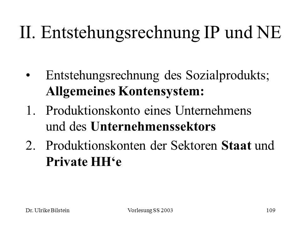 Dr. Ulrike BilsteinVorlesung SS 2003109 II. Entstehungsrechnung IP und NE Entstehungsrechnung des Sozialprodukts; Allgemeines Kontensystem: 1.Produkti