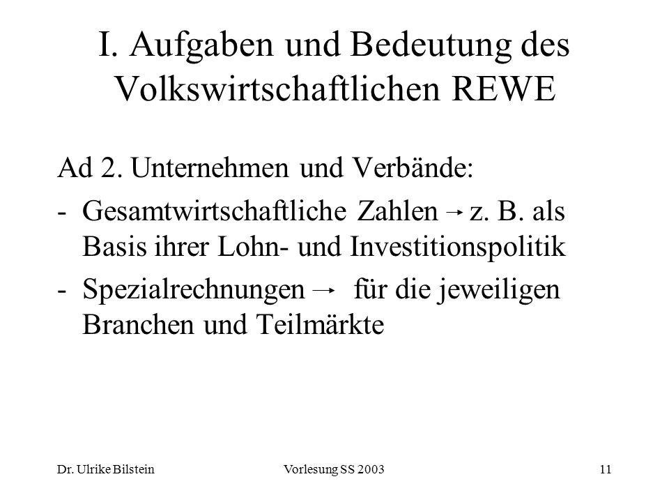 Dr. Ulrike BilsteinVorlesung SS 200311 I. Aufgaben und Bedeutung des Volkswirtschaftlichen REWE Ad 2. Unternehmen und Verbände: -Gesamtwirtschaftliche