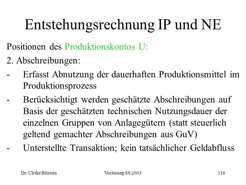 Dr. Ulrike BilsteinVorlesung SS 2003116 Entstehungsrechnung IP und NE Positionen des Produktionskontos U: 2. Abschreibungen: -Erfasst Abnutzung der da
