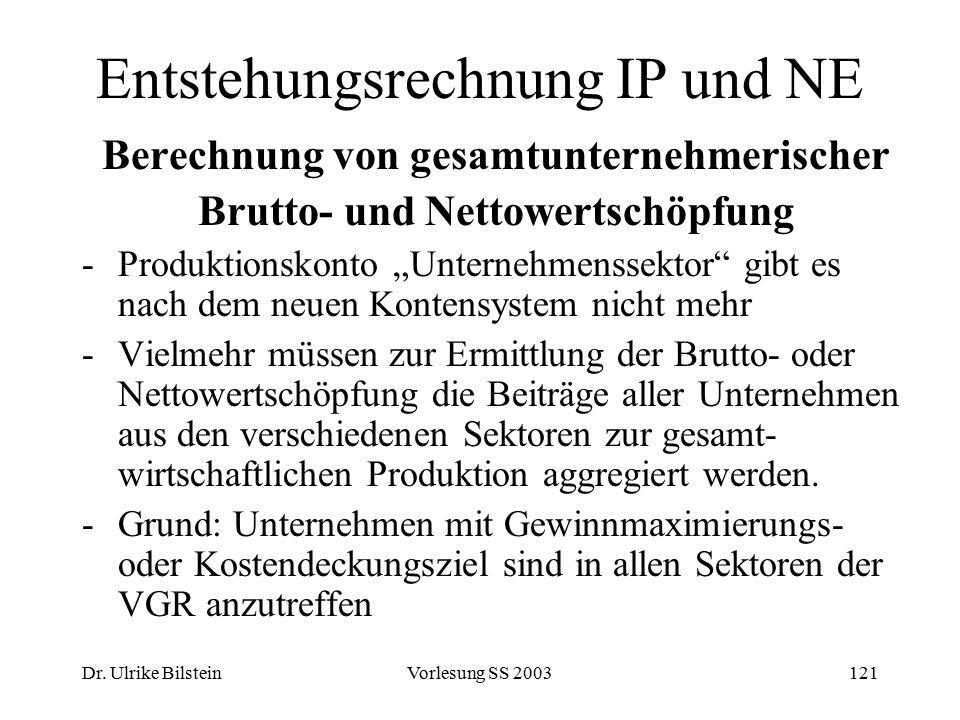 Dr. Ulrike BilsteinVorlesung SS 2003121 Entstehungsrechnung IP und NE Berechnung von gesamtunternehmerischer Brutto- und Nettowertschöpfung -Produktio