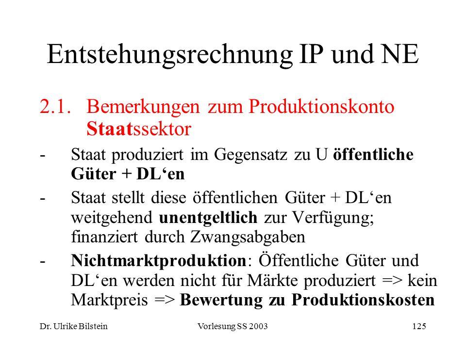 Dr. Ulrike BilsteinVorlesung SS 2003125 Entstehungsrechnung IP und NE 2.1. Bemerkungen zum Produktionskonto Staatssektor -Staat produziert im Gegensat