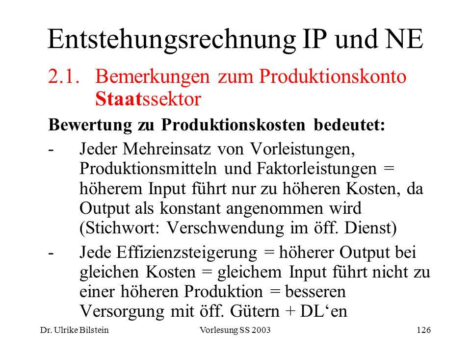 Dr. Ulrike BilsteinVorlesung SS 2003126 Entstehungsrechnung IP und NE 2.1. Bemerkungen zum Produktionskonto Staatssektor Bewertung zu Produktionskoste