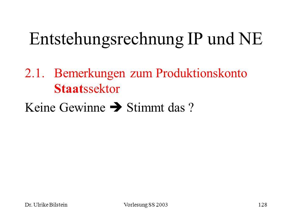 Dr. Ulrike BilsteinVorlesung SS 2003128 Entstehungsrechnung IP und NE 2.1.Bemerkungen zum Produktionskonto Staatssektor Keine Gewinne  Stimmt das ?