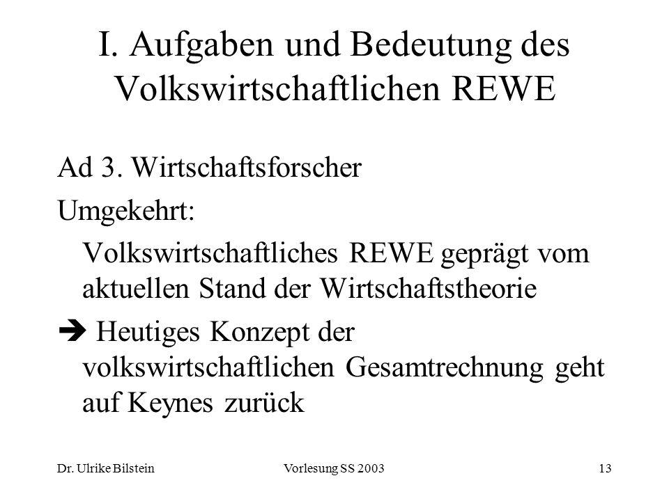 Dr. Ulrike BilsteinVorlesung SS 200313 I. Aufgaben und Bedeutung des Volkswirtschaftlichen REWE Ad 3. Wirtschaftsforscher Umgekehrt: Volkswirtschaftli