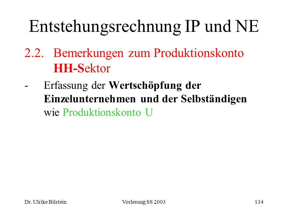 Dr. Ulrike BilsteinVorlesung SS 2003134 Entstehungsrechnung IP und NE 2.2.Bemerkungen zum Produktionskonto HH-Sektor -Erfassung der Wertschöpfung der