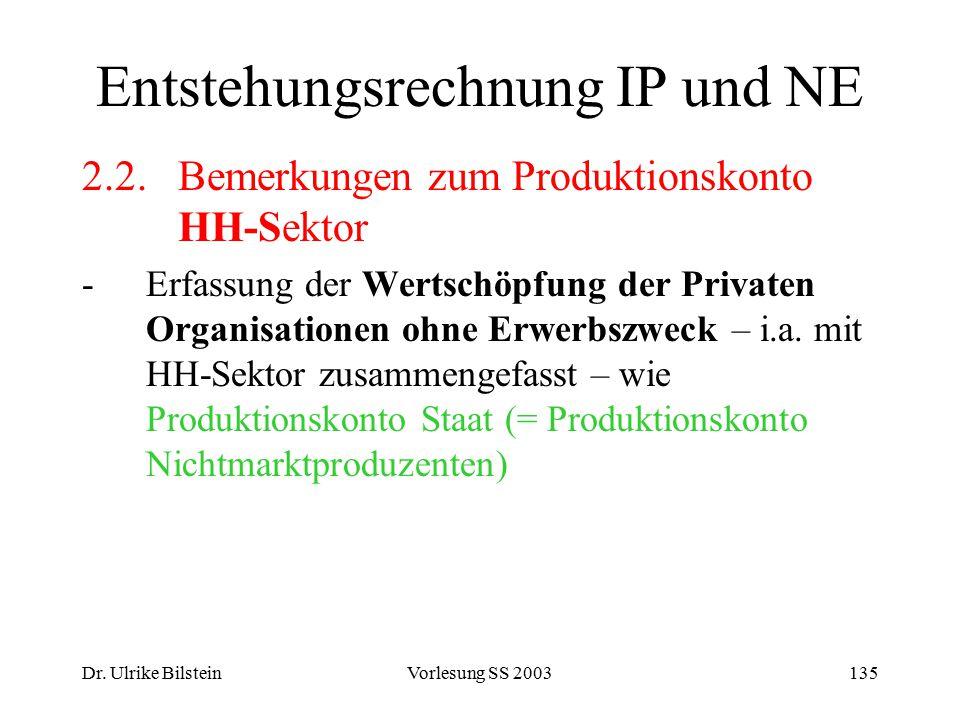 Dr. Ulrike BilsteinVorlesung SS 2003135 Entstehungsrechnung IP und NE 2.2.Bemerkungen zum Produktionskonto HH-Sektor -Erfassung der Wertschöpfung der