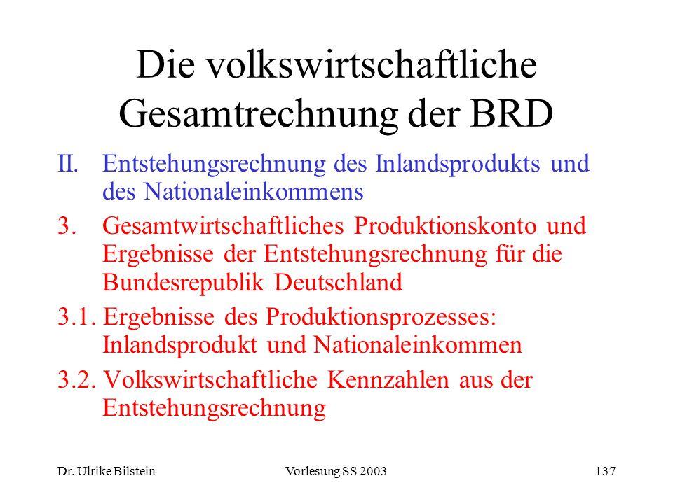 Dr. Ulrike BilsteinVorlesung SS 2003137 Die volkswirtschaftliche Gesamtrechnung der BRD II.Entstehungsrechnung des Inlandsprodukts und des Nationalein