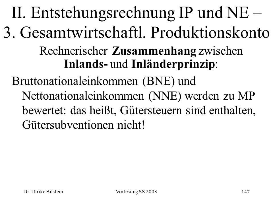 Dr. Ulrike BilsteinVorlesung SS 2003147 II. Entstehungsrechnung IP und NE – 3. Gesamtwirtschaftl. Produktionskonto Rechnerischer Zusammenhang zwischen