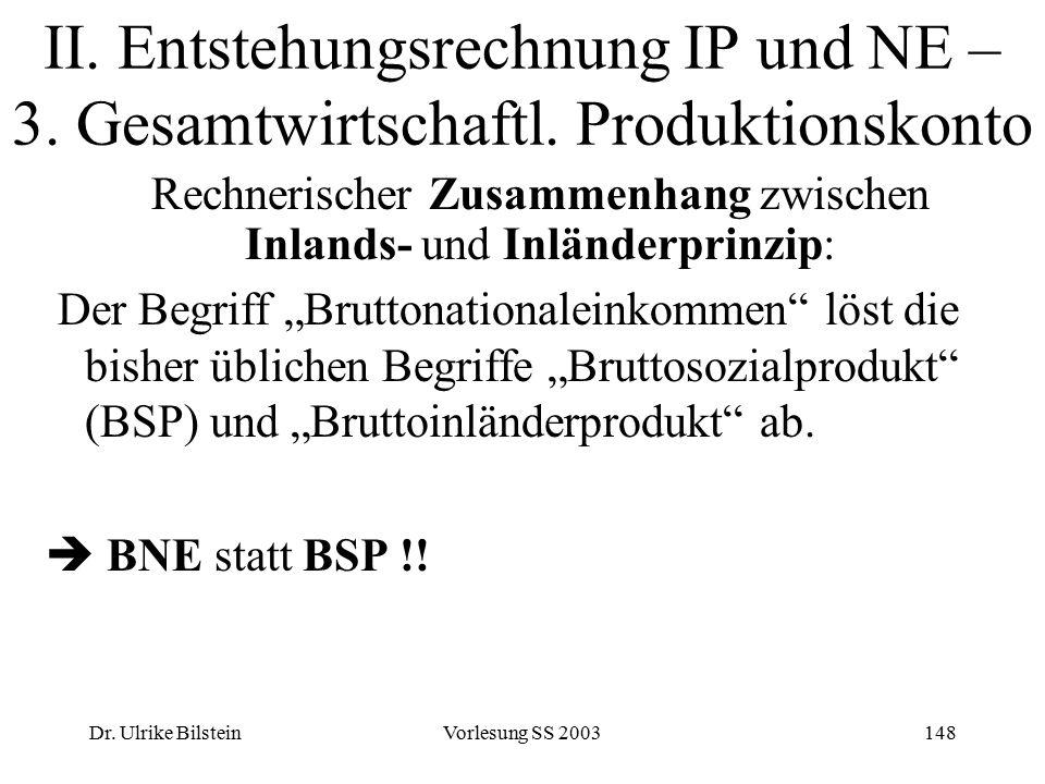 Dr. Ulrike BilsteinVorlesung SS 2003148 II. Entstehungsrechnung IP und NE – 3. Gesamtwirtschaftl. Produktionskonto Rechnerischer Zusammenhang zwischen