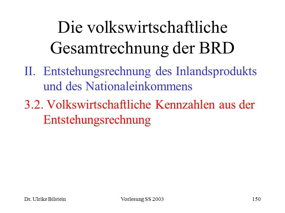 Dr. Ulrike BilsteinVorlesung SS 2003150 Die volkswirtschaftliche Gesamtrechnung der BRD II.Entstehungsrechnung des Inlandsprodukts und des Nationalein