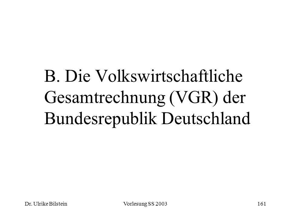 Dr. Ulrike BilsteinVorlesung SS 2003161 B. Die Volkswirtschaftliche Gesamtrechnung (VGR) der Bundesrepublik Deutschland