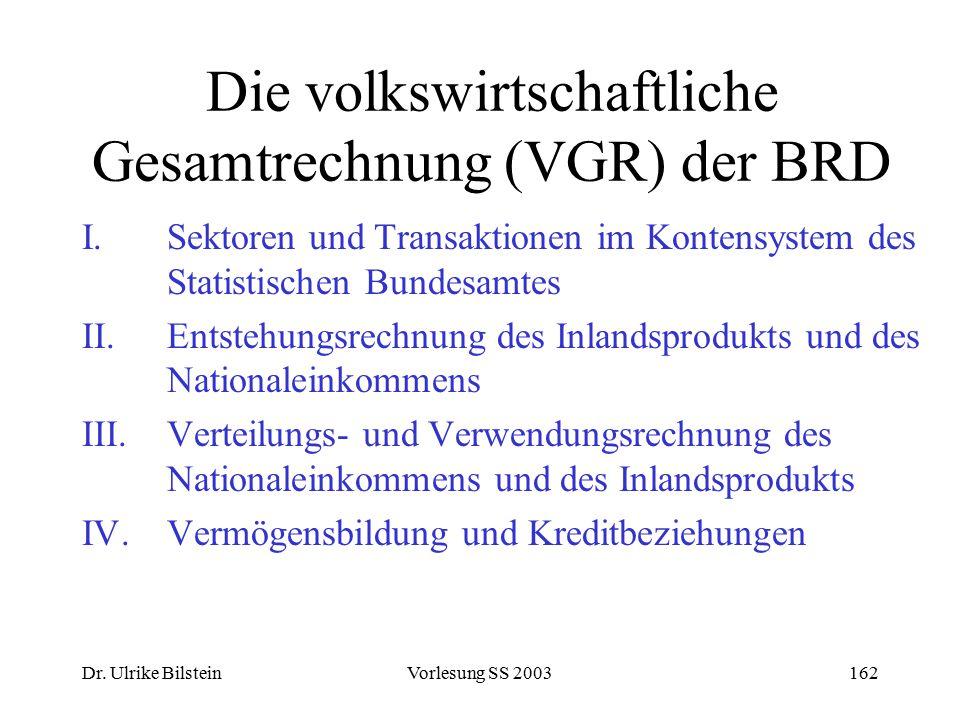 Dr. Ulrike BilsteinVorlesung SS 2003162 Die volkswirtschaftliche Gesamtrechnung (VGR) der BRD I. Sektoren und Transaktionen im Kontensystem des Statis