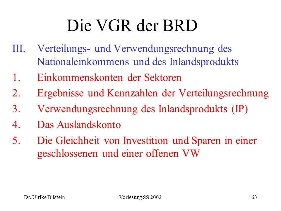 Dr. Ulrike BilsteinVorlesung SS 2003163 Die VGR der BRD III.Verteilungs- und Verwendungsrechnung des Nationaleinkommens und des Inlandsprodukts 1.Eink