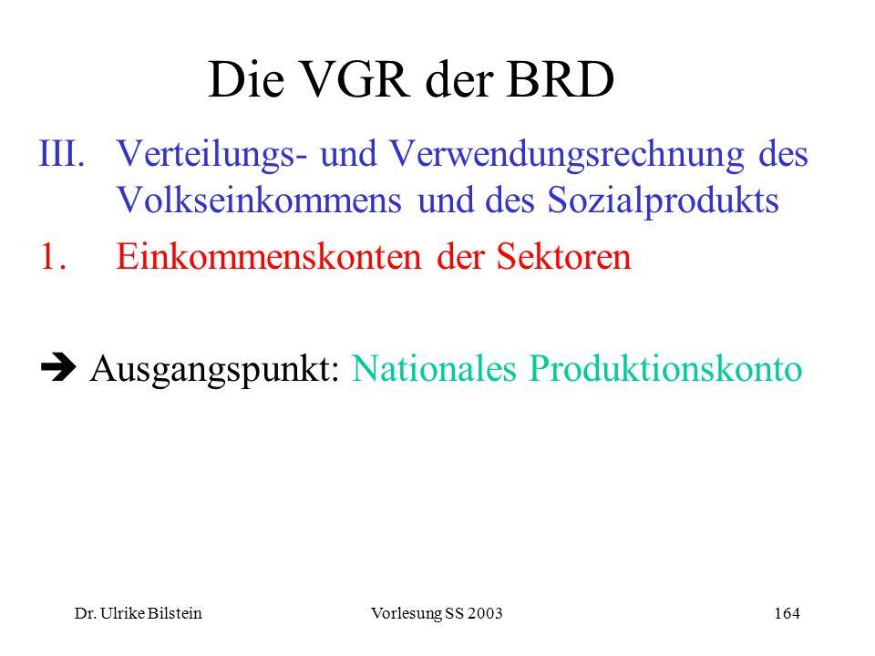Dr. Ulrike BilsteinVorlesung SS 2003164 Die VGR der BRD III.Verteilungs- und Verwendungsrechnung des Volkseinkommens und des Sozialprodukts 1.Einkomme