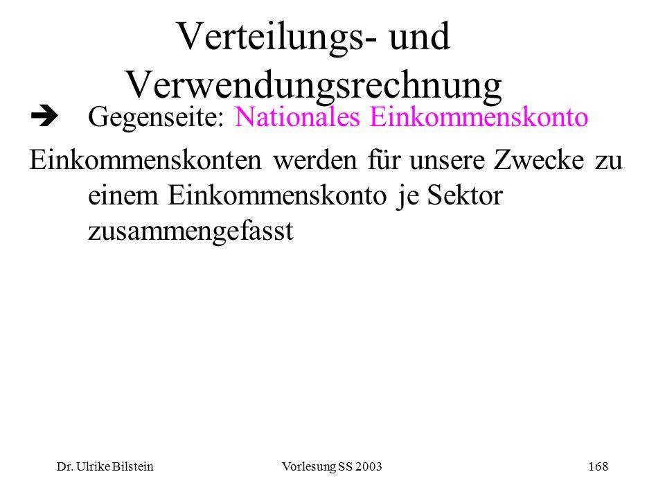 Dr. Ulrike BilsteinVorlesung SS 2003168 Verteilungs- und Verwendungsrechnung  Gegenseite: Nationales Einkommenskonto Einkommenskonten werden für unse