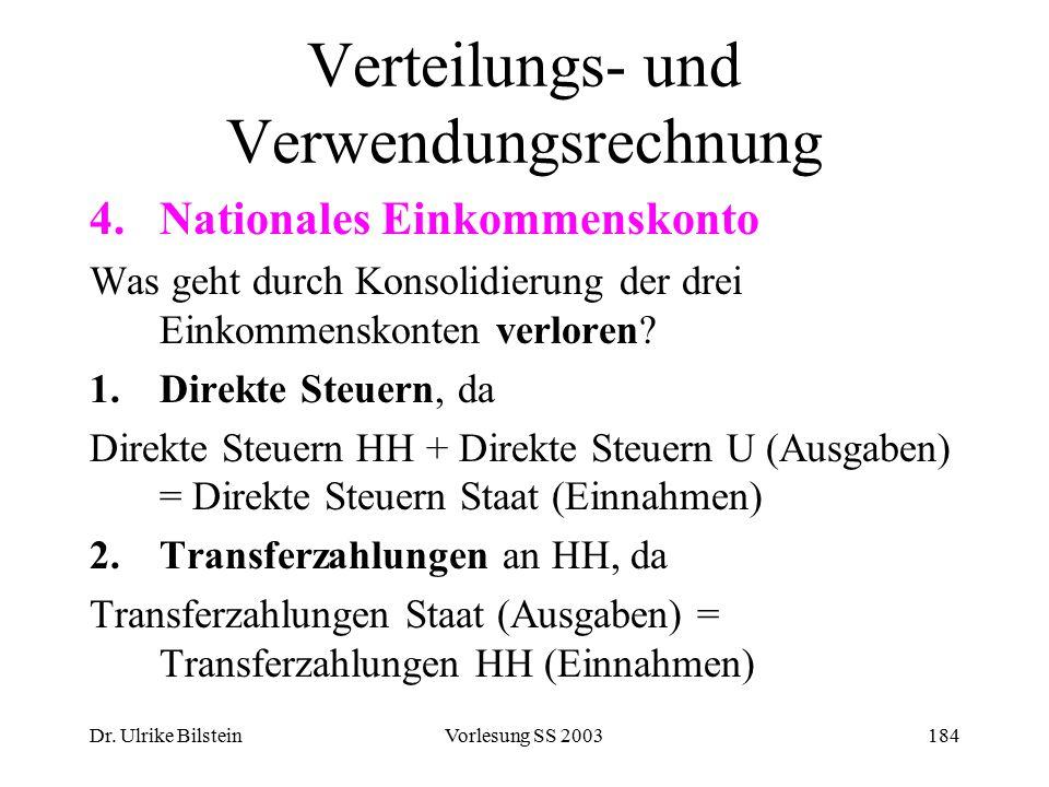 Dr. Ulrike BilsteinVorlesung SS 2003184 Verteilungs- und Verwendungsrechnung 4.Nationales Einkommenskonto Was geht durch Konsolidierung der drei Einko