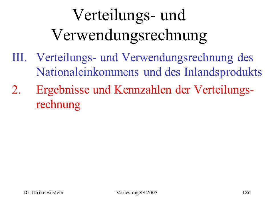 Dr. Ulrike BilsteinVorlesung SS 2003186 Verteilungs- und Verwendungsrechnung III.Verteilungs- und Verwendungsrechnung des Nationaleinkommens und des I