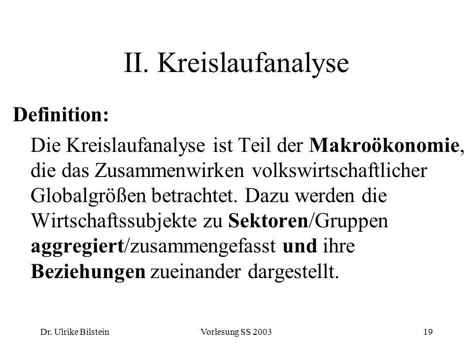 Dr. Ulrike BilsteinVorlesung SS 200319 II. Kreislaufanalyse Definition: Die Kreislaufanalyse ist Teil der Makroökonomie, die das Zusammenwirken volksw