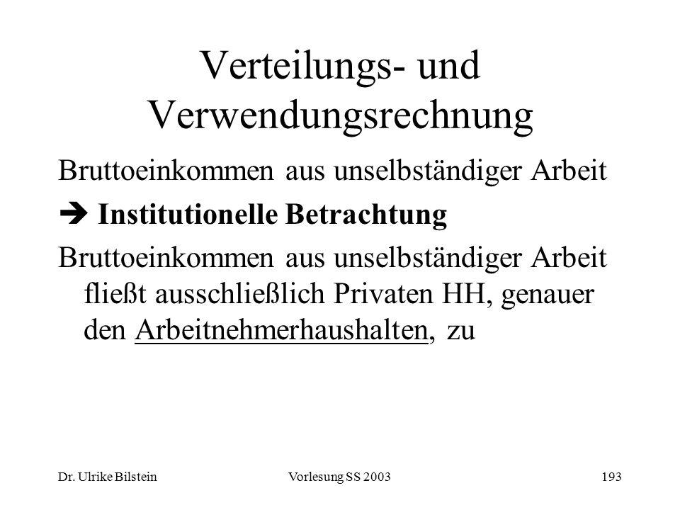 Dr. Ulrike BilsteinVorlesung SS 2003193 Verteilungs- und Verwendungsrechnung Bruttoeinkommen aus unselbständiger Arbeit  Institutionelle Betrachtung