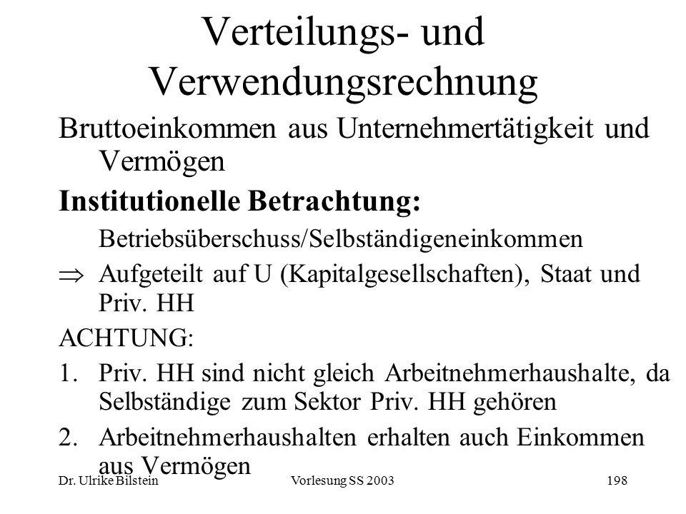 Dr. Ulrike BilsteinVorlesung SS 2003198 Verteilungs- und Verwendungsrechnung Bruttoeinkommen aus Unternehmertätigkeit und Vermögen Institutionelle Bet