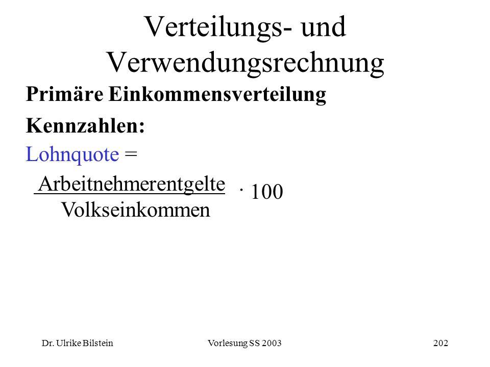 Dr. Ulrike BilsteinVorlesung SS 2003202 Verteilungs- und Verwendungsrechnung Primäre Einkommensverteilung Kennzahlen: Lohnquote = Arbeitnehmerentgelte