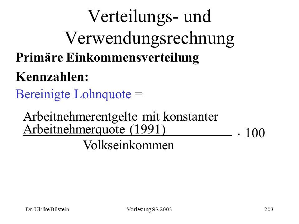 Dr. Ulrike BilsteinVorlesung SS 2003203 Verteilungs- und Verwendungsrechnung Primäre Einkommensverteilung Kennzahlen: Bereinigte Lohnquote = Arbeitneh