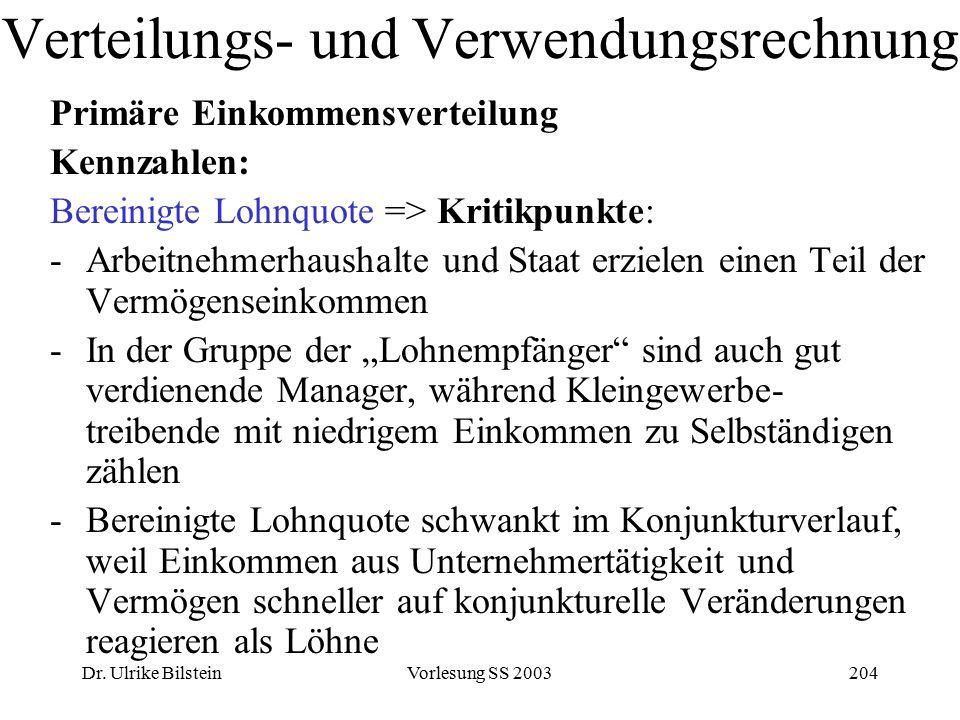Dr. Ulrike BilsteinVorlesung SS 2003204 Verteilungs- und Verwendungsrechnung Primäre Einkommensverteilung Kennzahlen: Bereinigte Lohnquote => Kritikpu
