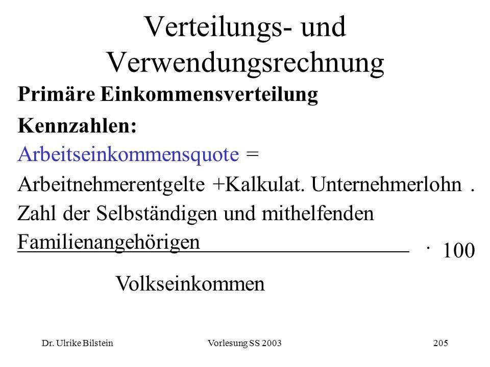 Dr. Ulrike BilsteinVorlesung SS 2003205 Verteilungs- und Verwendungsrechnung Primäre Einkommensverteilung Kennzahlen: Arbeitseinkommensquote = Arbeitn