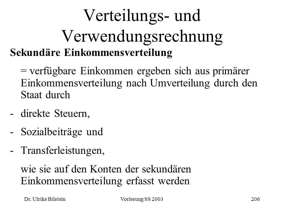 Dr. Ulrike BilsteinVorlesung SS 2003206 Verteilungs- und Verwendungsrechnung Sekundäre Einkommensverteilung = verfügbare Einkommen ergeben sich aus pr
