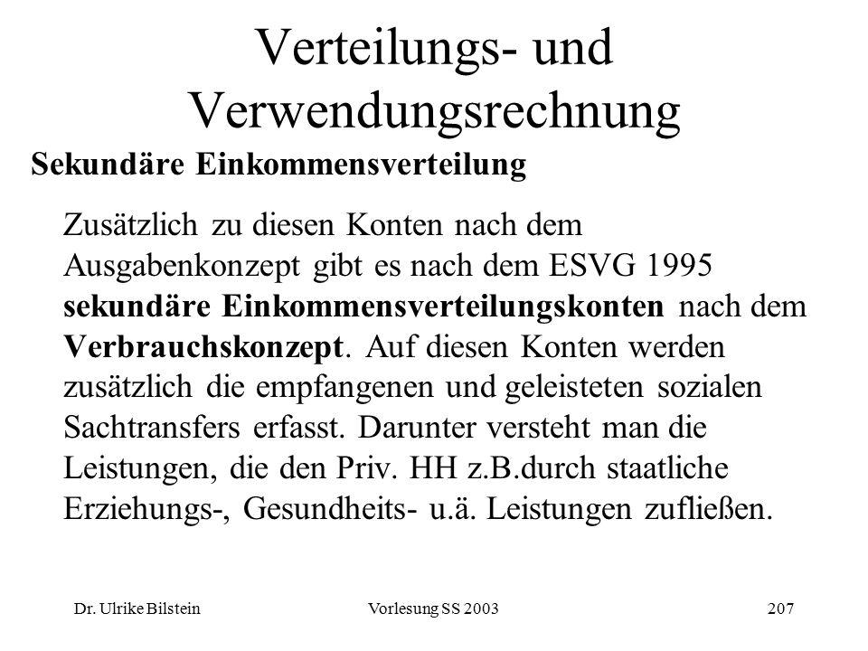 Dr. Ulrike BilsteinVorlesung SS 2003207 Verteilungs- und Verwendungsrechnung Sekundäre Einkommensverteilung Zusätzlich zu diesen Konten nach dem Ausga