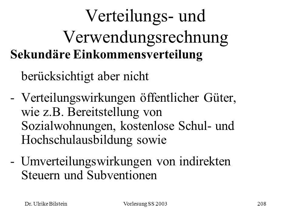 Dr. Ulrike BilsteinVorlesung SS 2003208 Verteilungs- und Verwendungsrechnung Sekundäre Einkommensverteilung berücksichtigt aber nicht -Verteilungswirk