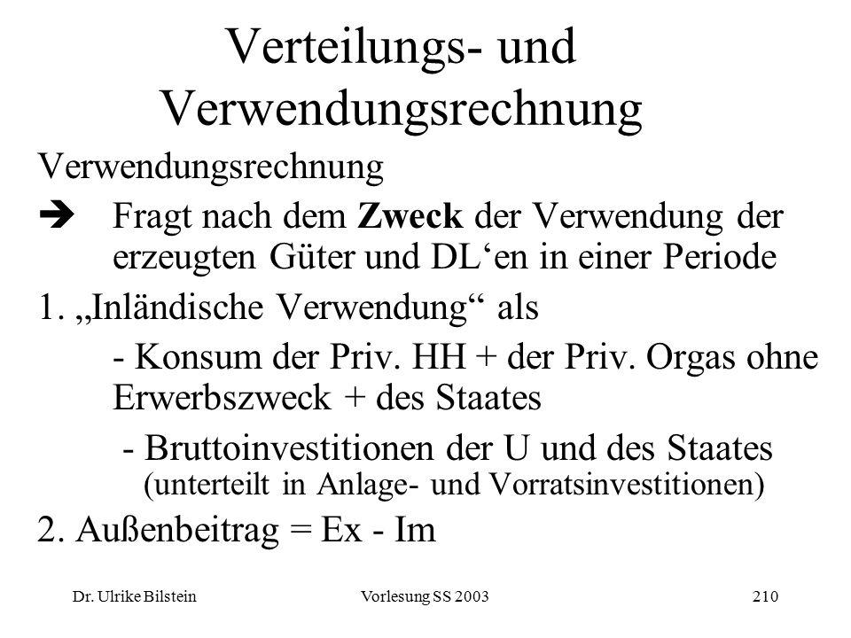 Dr. Ulrike BilsteinVorlesung SS 2003210 Verteilungs- und Verwendungsrechnung Verwendungsrechnung  Fragt nach dem Zweck der Verwendung der erzeugten G