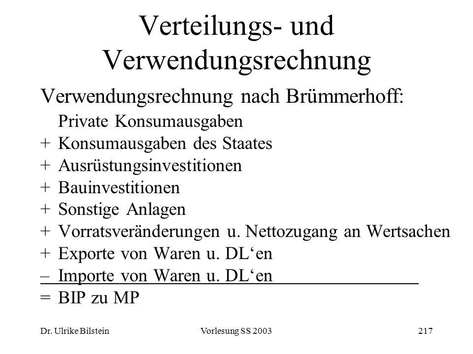Dr. Ulrike BilsteinVorlesung SS 2003217 Verteilungs- und Verwendungsrechnung Verwendungsrechnung nach Brümmerhoff: Private Konsumausgaben +Konsumausga