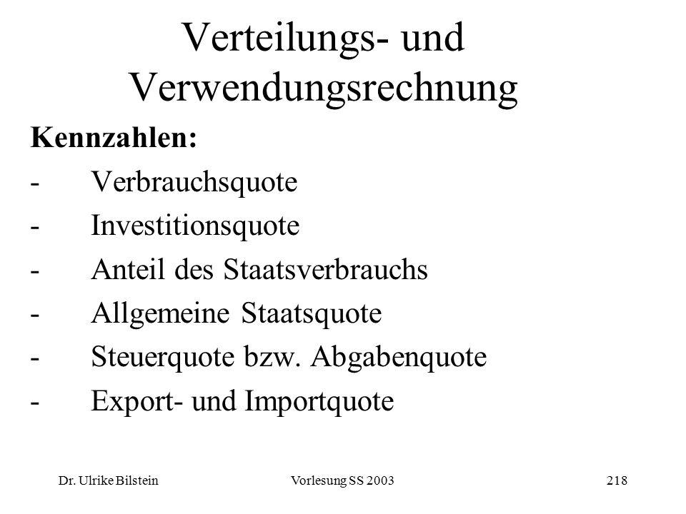 Dr. Ulrike BilsteinVorlesung SS 2003218 Verteilungs- und Verwendungsrechnung Kennzahlen: -Verbrauchsquote -Investitionsquote -Anteil des Staatsverbrau
