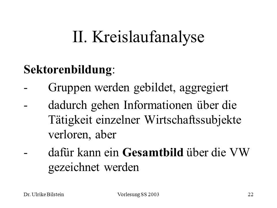 Dr. Ulrike BilsteinVorlesung SS 200322 II. Kreislaufanalyse Sektorenbildung: - Gruppen werden gebildet, aggregiert -dadurch gehen Informationen über d