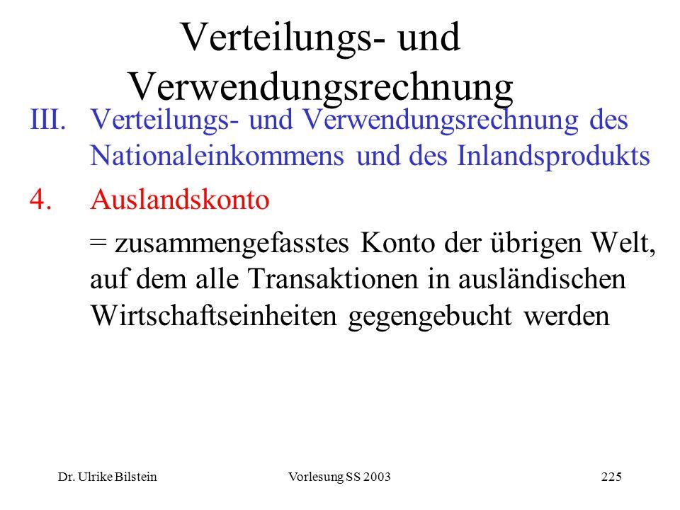 Dr. Ulrike BilsteinVorlesung SS 2003225 Verteilungs- und Verwendungsrechnung III.Verteilungs- und Verwendungsrechnung des Nationaleinkommens und des I