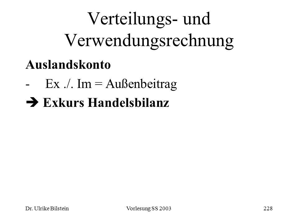 Dr. Ulrike BilsteinVorlesung SS 2003228 Verteilungs- und Verwendungsrechnung Auslandskonto -Ex./. Im = Außenbeitrag  Exkurs Handelsbilanz