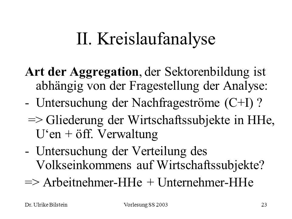 Dr. Ulrike BilsteinVorlesung SS 200323 II. Kreislaufanalyse Art der Aggregation, der Sektorenbildung ist abhängig von der Fragestellung der Analyse: -