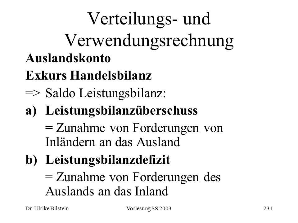 Dr. Ulrike BilsteinVorlesung SS 2003231 Verteilungs- und Verwendungsrechnung Auslandskonto Exkurs Handelsbilanz =>Saldo Leistungsbilanz: a)Leistungsbi