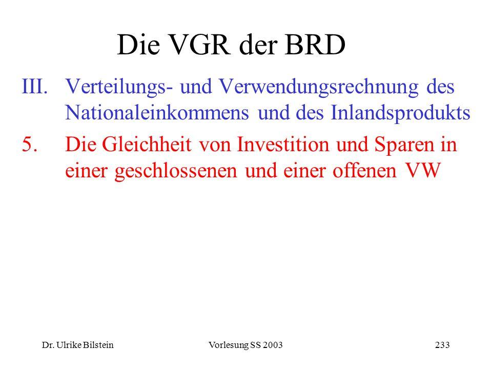 Dr. Ulrike BilsteinVorlesung SS 2003233 Die VGR der BRD III.Verteilungs- und Verwendungsrechnung des Nationaleinkommens und des Inlandsprodukts 5.Die