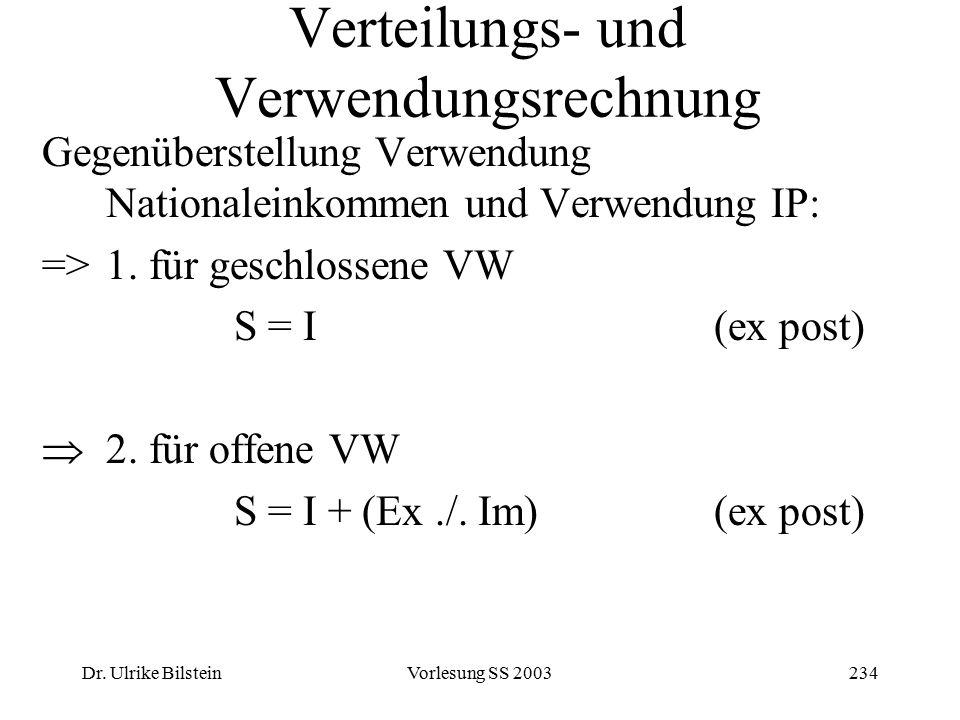 Dr. Ulrike BilsteinVorlesung SS 2003234 Verteilungs- und Verwendungsrechnung Gegenüberstellung Verwendung Nationaleinkommen und Verwendung IP: =>1. fü