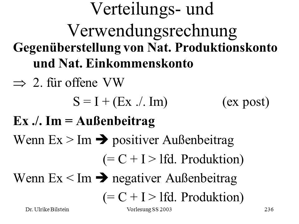 Dr. Ulrike BilsteinVorlesung SS 2003236 Verteilungs- und Verwendungsrechnung Gegenüberstellung von Nat. Produktionskonto und Nat. Einkommenskonto  2.
