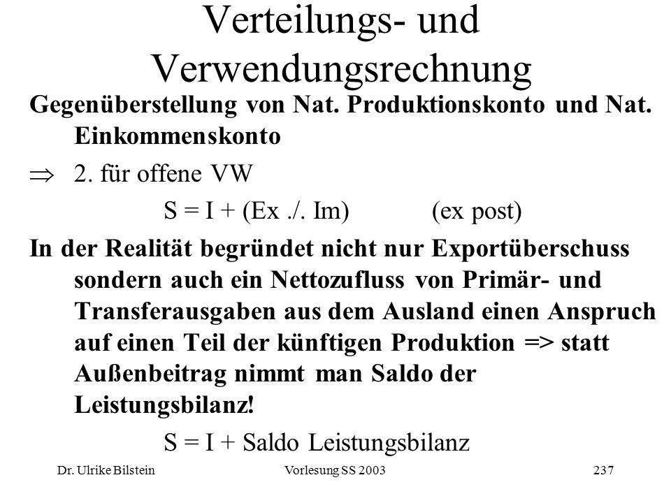 Dr. Ulrike BilsteinVorlesung SS 2003237 Verteilungs- und Verwendungsrechnung Gegenüberstellung von Nat. Produktionskonto und Nat. Einkommenskonto  2.
