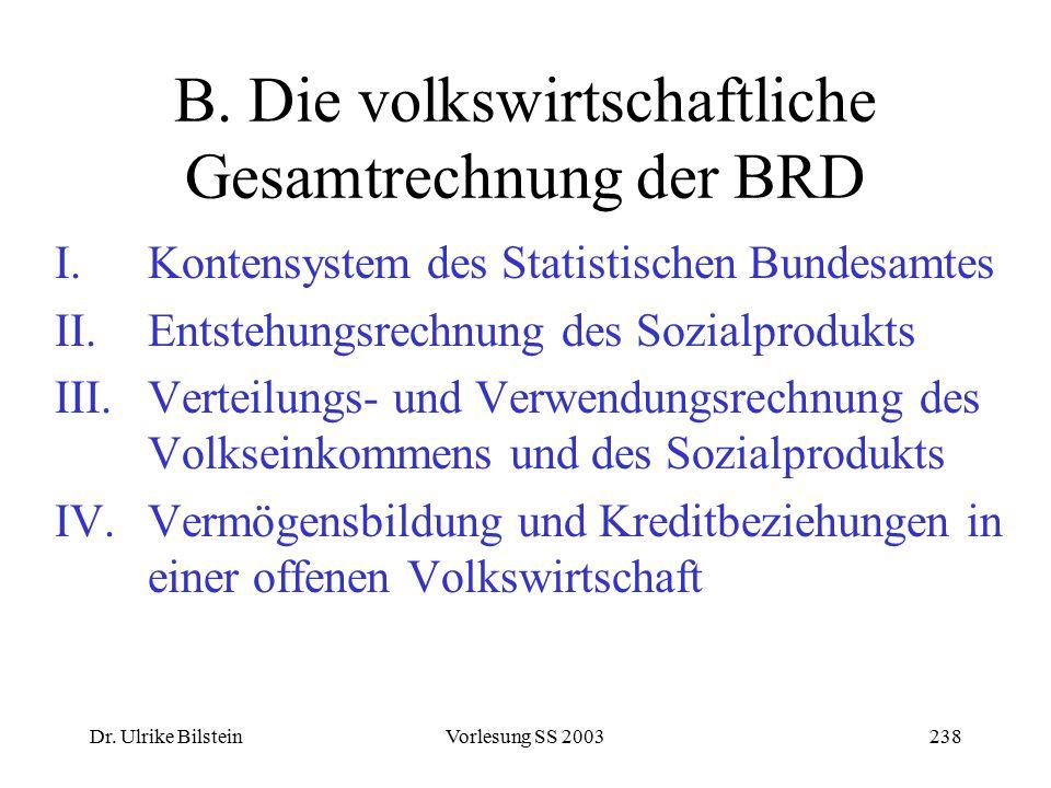 Dr. Ulrike BilsteinVorlesung SS 2003238 B. Die volkswirtschaftliche Gesamtrechnung der BRD I.Kontensystem des Statistischen Bundesamtes II.Entstehungs