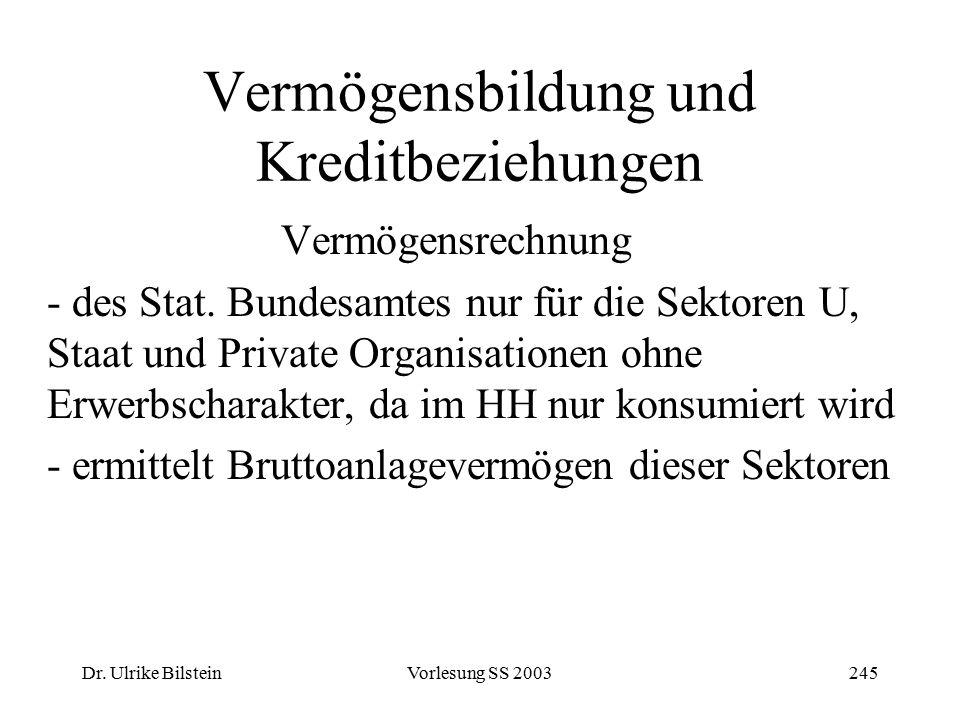 Dr. Ulrike BilsteinVorlesung SS 2003245 Vermögensbildung und Kreditbeziehungen Vermögensrechnung - des Stat. Bundesamtes nur für die Sektoren U, Staat