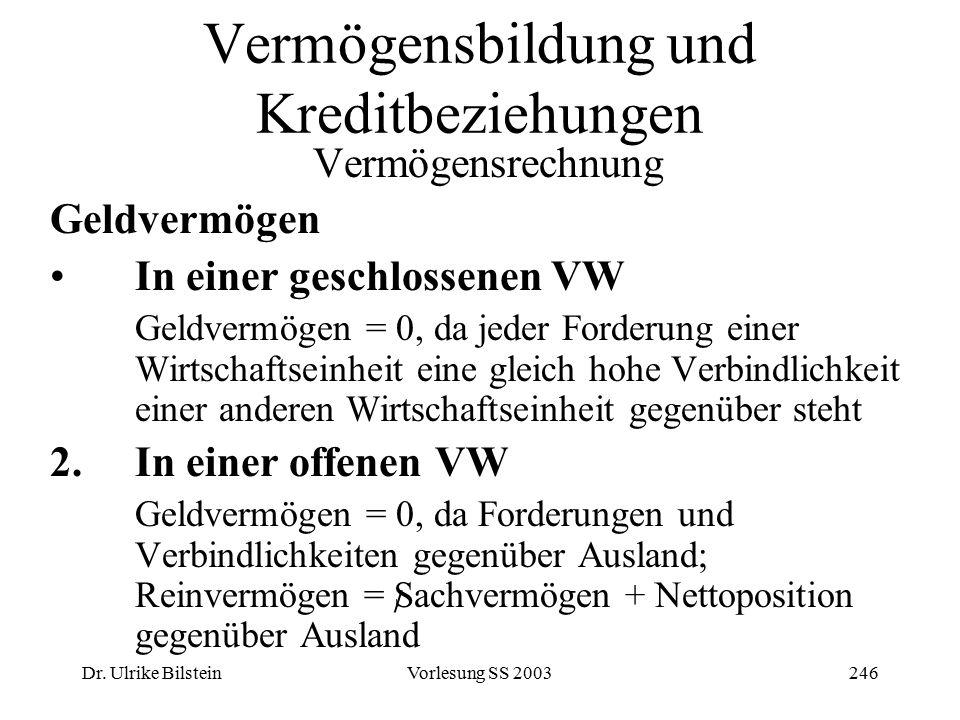 Dr. Ulrike BilsteinVorlesung SS 2003246 Vermögensbildung und Kreditbeziehungen Vermögensrechnung Geldvermögen In einer geschlossenen VW Geldvermögen =