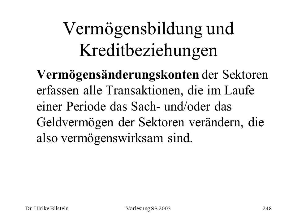 Dr. Ulrike BilsteinVorlesung SS 2003248 Vermögensbildung und Kreditbeziehungen Vermögensänderungskonten der Sektoren erfassen alle Transaktionen, die