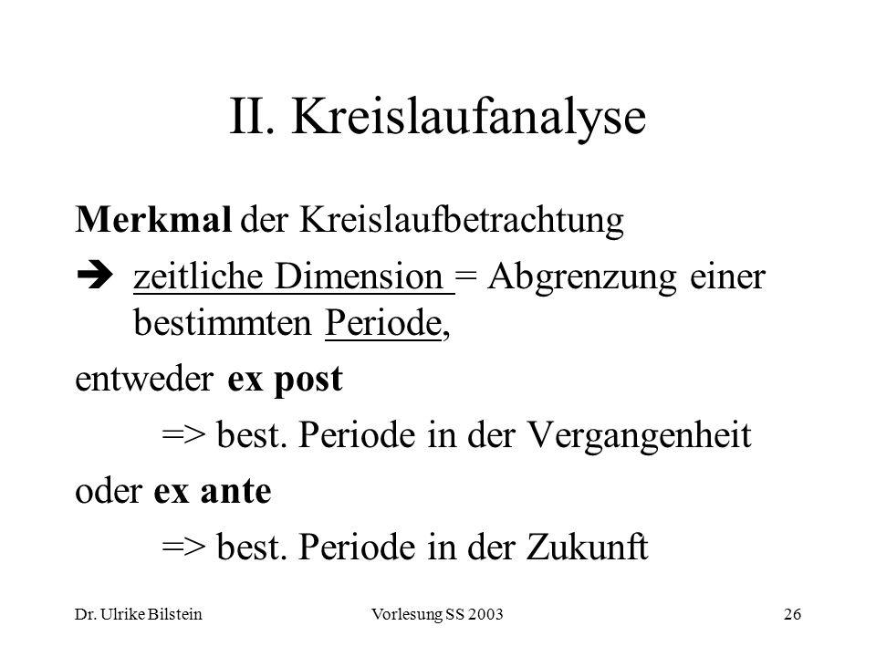 Dr. Ulrike BilsteinVorlesung SS 200326 II. Kreislaufanalyse Merkmal der Kreislaufbetrachtung  zeitliche Dimension = Abgrenzung einer bestimmten Perio