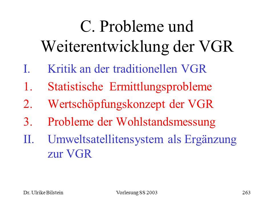 Dr. Ulrike BilsteinVorlesung SS 2003263 C. Probleme und Weiterentwicklung der VGR I.Kritik an der traditionellen VGR 1.Statistische Ermittlungsproblem
